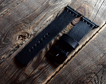 Sale 15% Off Dark Noire Black Apple Watch Band Strap 42mm / 38mm Handmade leather strap/band for Apple Watch 42mm