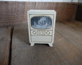 Vintage Dollhouse Furniture TV Television Strombecker White Wood Retro Patina