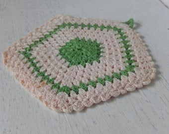 Vintage Potholder Crochet Pale Pink Handmade Kitchen Home Decor