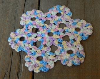 Vintage Doily Romantic Pastel Cottage Chic Hand Crochet Kitchen Babys Room Home Decor