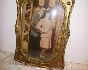 Antique Gold Wood Gesso Military U S A Frame Eagle with Convex Glass Great Photo