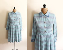 vintage dress 1950s womens clothing mint green plaid ric rac handmade house size s small