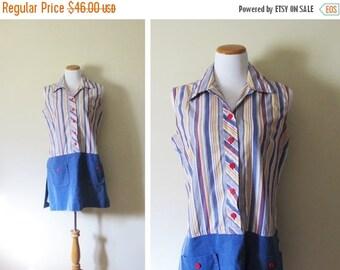 50% OFF SALE vintage romper 60s striped blue1960s retro mod dress size m l medium large