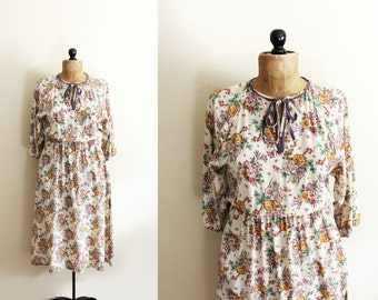 vintage dress silk floral print beige romantic 1980s clothing size medium m 8 10