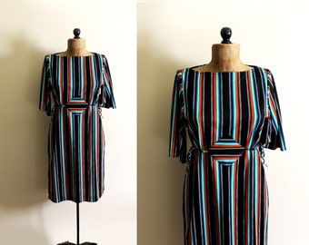 vintage dress 1970s clothing retro black neon colors striped disco era size s m small medium