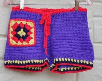 70s Crocheted Boho Hippie Shorts
