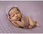 Knit Newborn Baby Bonnet, Asymetrical Bonnet, Newborn Photo Shoot Prop by Cream of the Prop