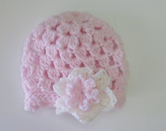 Pink Girls Newborn Baby Cap-Baby Hat with flower accent- Baby Shower Gift