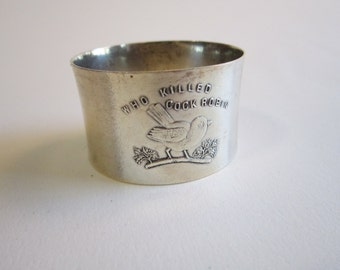 vintage sterling silver napking ring - WHO KiLLED COCK ROBIN - engraved