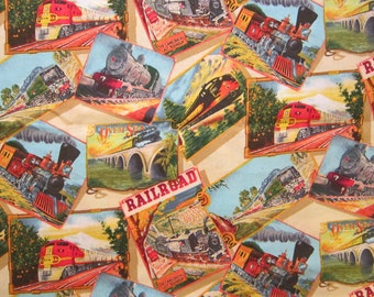 fabric - TRAINS - 17 x 44 inches - all cotton - Shamash & Sons
