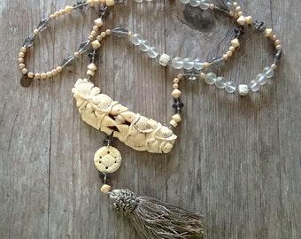 SALE Long Asian Style Necklace Cream Gray Statement Jewelry Boho Chic Bohemian Arty Jewelry Tassel Jewelry Artisan Jewelry