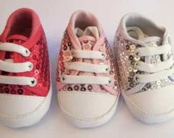 Sequin Baby Shoes, Girl or Boy, SALE, Baby booties, 6-12 months