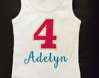 Personalized Number Birthday Shirt- Glitter Vinyl and Rhinestones and Personalized with Child's Name for Girls