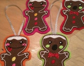 Set of 4 embroidered quirky ginger bread men tree ornaments