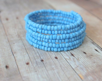 C O A S T - Turquoise Periwinkle Blue, Glass Seed Bead, Silver Plated Memory Wire Wrap Bangle Bracelet