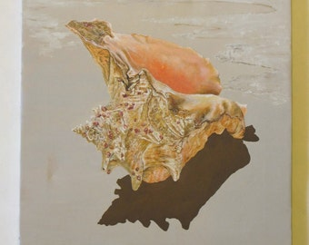 Hand Painted Seashell on Canvas