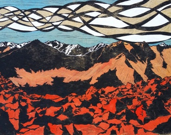 White Cloud Mountains Linocut in Blues and Reds or Yellows and Reds