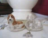 Pair Wade Bassette Hound Dogs Orange Silver White Figures Wade Pottery