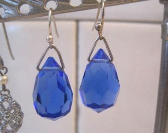 Vintage Repurposed Czech  Cobalt Blue Drop Pierced Earrings from Original Screw On Earrings