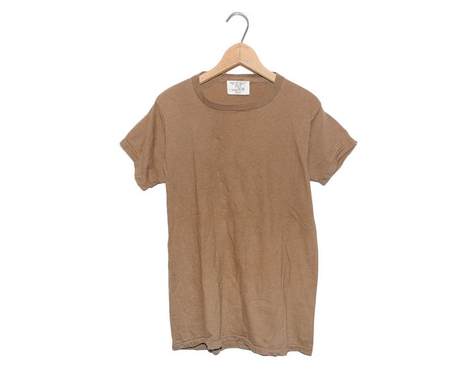 Vintage Army Brown Military Issue 100% Cotton T-shirt - Small