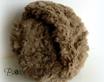 BROWN Powder Puff - big and cuddly soft powder duster - gift box option - 5 inch pouf - Gender neutral - handmade by Bonny Bubbles