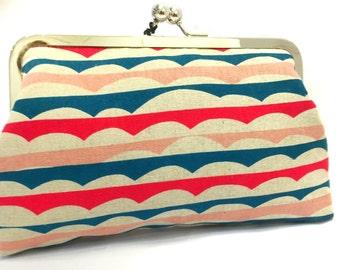 clutch purse - build a bridge - 8 inch metal frame clutch purse - large purse- japanese linen - teal - pink - clutch- kisslock