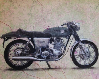 Norton Commando Motorcycle Drawing - Custom -  Commissions on antiqued maps - Other custom imagery requests welcome too