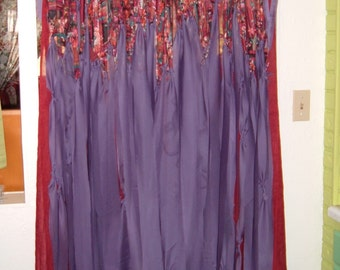 Fabulous Gypsy Bohemian Hippie Door Curtain, Privacy, Divider, Purple, Cranberry, 32 Inches Wide by 78 Inches