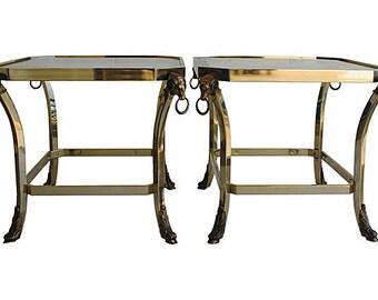 Brass Ram's Head Side Tables, Pair