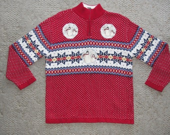 Liz Claiborne Sweater Converted into Ugly Christmas Sweater with Snowflakes and Added Snowmen Badges