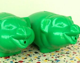 Two Vintage Plastic Piggy Banks