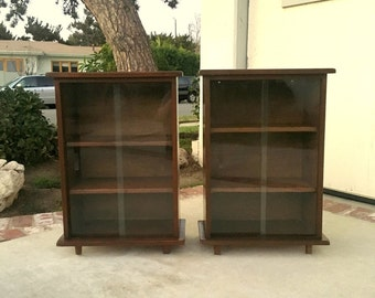MID CENTURY MODERN Pair of Cabinets with Glass Doors