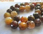 30% OFF SALE Brown Agate Faceted Round 18mm Beads, 4 pcs, Gemstone Beads