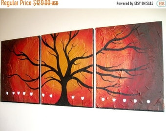 extra large wall art tree of life Original painting abstract triptych landscape large impasto wall canvas art Palette Knife 54 x 24