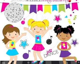 SALE Dance Party Cute Digital Clipart - Commercial Use OK - Dancing Girls Clipart, Dance Clipart, Disco Graphics, Music