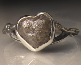 Heart Shaped Rough Diamond Twig Ring in Sterling Silver, Raw Diamond Engagement Ring, 3.25 Carats