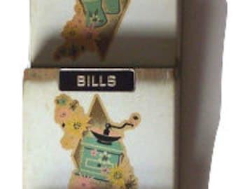 Wall Mail Organizer, Vintage Metal Letter Sorter (F1)