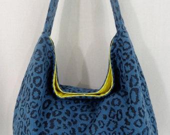 Teal Leopard Print Medium Slouchy BAG, Shoulder Purse, Fall Winter Hobo, Sling BAG