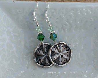 Green Button Earrings, Silver Button and Kelly Green Crystal Dangle Sterling Silver Earrings, Silver Green Button Sterling Silver Earrings