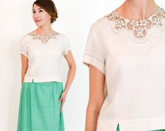60s Ivory Blouse | Linen Floral Embroidered