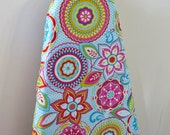 Ironing Board Cover - bright pink yellow blue green aqua retro flowers