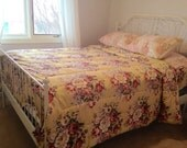 vintage king size floral comforter duvet reversible bedspread yellow roses victorian english cottage shabby chic