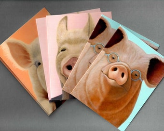 Pig Cards - Pig Note Cards 6-pack - Pig Art - Assorted Pig Cards - 10% Benefits Animal Rescue