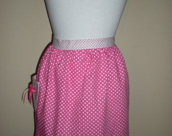 Vintage inspired half apron pink white polka dots print with polka dots straps and pocket with bow Ready to ship