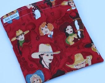 Reusable Sandwich Bag  Snack Bag Eco Friendly Sandwich Sack Cowgirl Western
