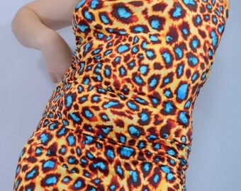 Women's Handmade Animal Print Halter Mini Dress // MED 6-8-10 // Orange and Turquoise Cheetah Print // Lace Trim Mini Dress // One Of a Kind