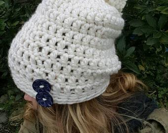 White pom pom slouch hat, pom pom hat, white slouch, slouch hat, slouch hat with buttons, womens slouch, crochet slouch hat