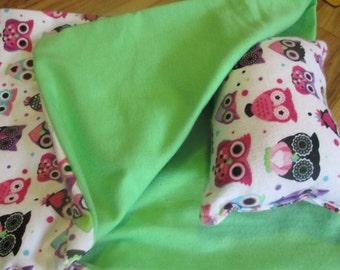 Owl Doll Bedding, sleeping bag for American Girl or 18 inch doll
