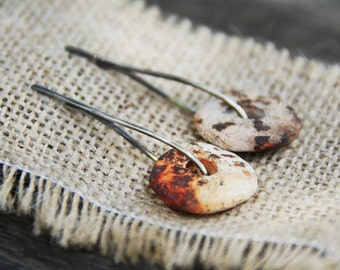 Slices of life - Raised from ashes - Pit fired ceramic on sterling silver earrings - free shipping