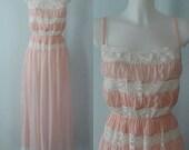 Vintage Nightgown, Vintage Nightgowns, 1950s Nightgown, 1950s Kayser, Kayser, Pink Nightgown, Lace, Wedding, Romantic, Vintage